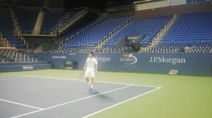 Diego Schwartzman se preparó de noche, en el Louis Armstrong, para su encuentro con Novak Djokovic (Foto cortesía de Matias Schwartzman)