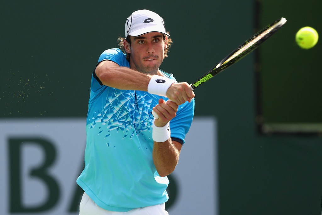 Guido Pella en la primera ronda de Indian Wells