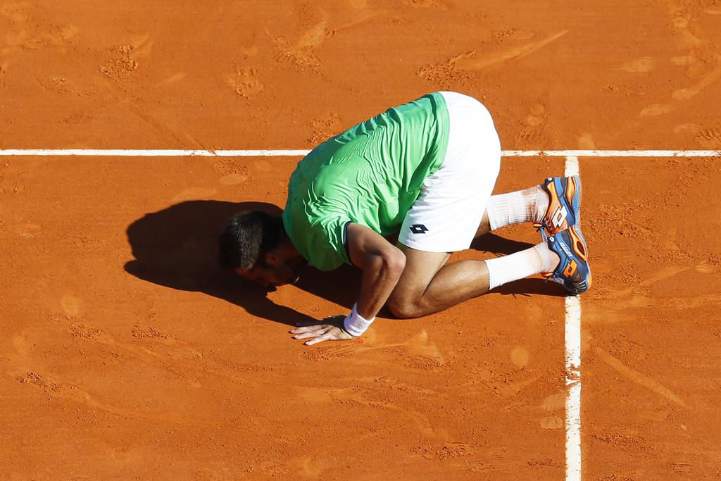 Jiri Vesely celebra su triunfo ante Novak Djokovic en Montecarlo