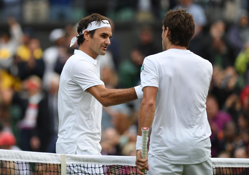 Roger Federer y Guido Pella en Wimbledon