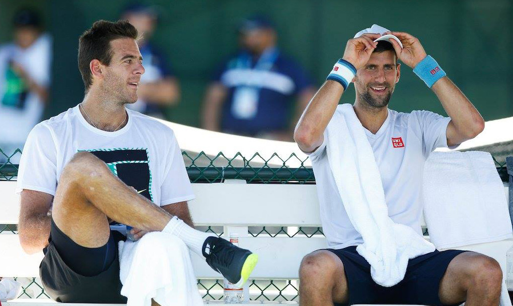 Juan Martín del Potro y Novak Djokovic en Indian Wells